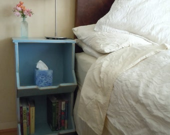 1(one) x Amy Madera Night Stand - Bedside Table -2 Cubbies  in Sky Blue (1 Nightstand per order)