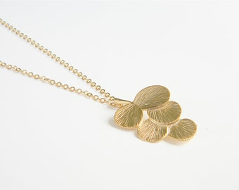 """Gold Necklace - Long Necklace - 24"""" - Matte Gold Chain with Gold Circle Leaf Pendant"""