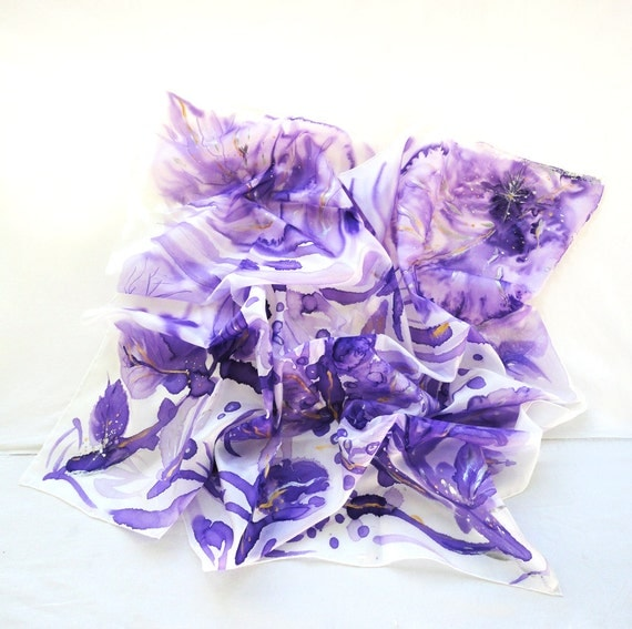 Silk Scarf. Hand Painted square Silk Scarf. Purple, Gold Silk Shawl. Handmade Floral Scarves. 35x35 in. (90x90cm). Ready to Ship.