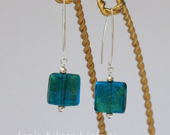 Handcrafted Earrings, Blue and Green Dichroic Glass on Artisan Sterling Silver Earwires