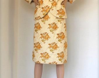 SALE 60s floral brocade skirt & jacket suit / MAD MEN / Herbert Owen