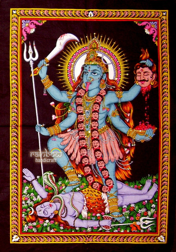 Hindu Goddess Of Death Destruction Kali Shiva Sequin Cotton