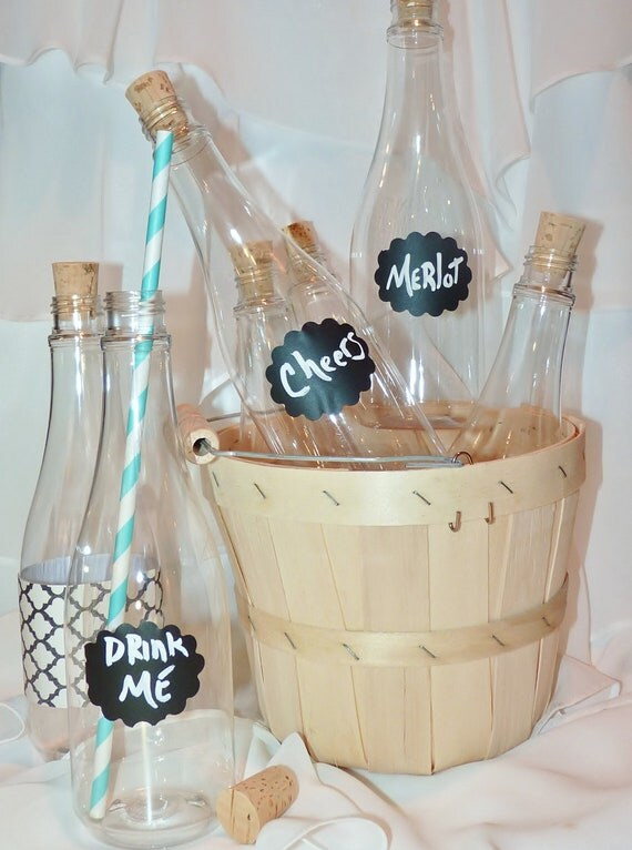 CORK BOTTLES 12oz- ADULT SiZeD Clear PlaStiC WinE PerFecT BoTTleS (set of 10) -ChaLkBoArD LabeLs  -StrAwBeRRy Wine -WeddIng-SoroiTY SeCretS