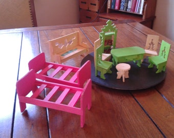 Vintage Mexican folk art 10 mini furniture dining room table drawer & bedroom set miniature retro pink doll house birthday collector gift