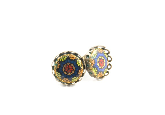 Mosaic Post Earrings, Glass Kaleidoscope Earrings, Cabochon Earrings, Glass Cameo