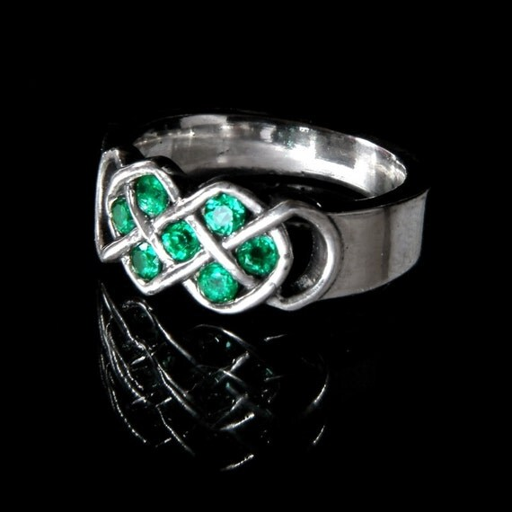 celtic emerald wedding ring with infinity knot by