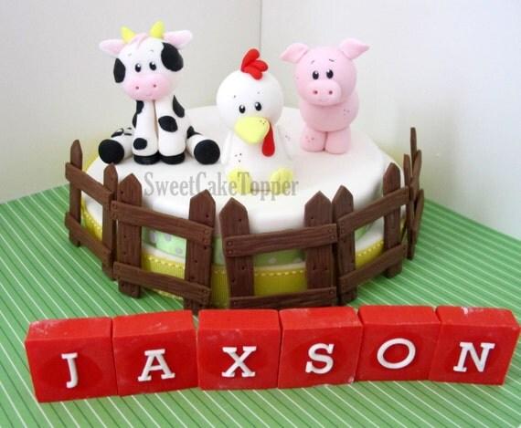 Reserved For Ms Jennifer Farm Animal Fondant Cake Topper