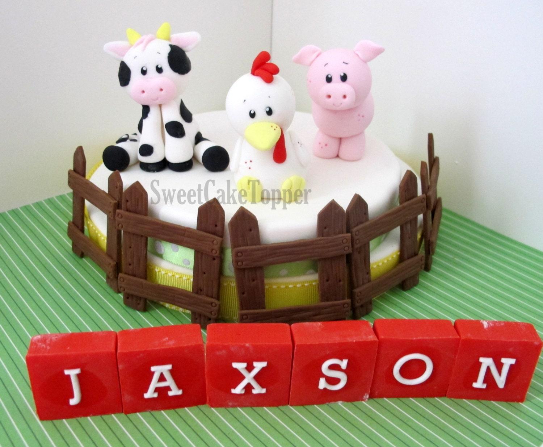 Reserved for Ms. Jennifer Farm Animal Fondant Cake Topper
