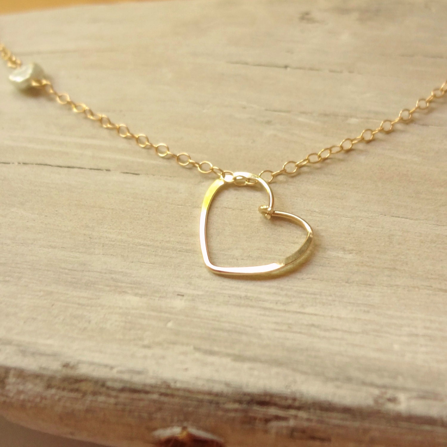 gold heart necklace handmade floating heart necklace with. Black Bedroom Furniture Sets. Home Design Ideas