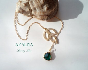 Golden Leaf Charm Necklace with Emerald Green Crystal. Azaliya Luxury Line. Brides, Bridesmaids Necklace. Gifts.