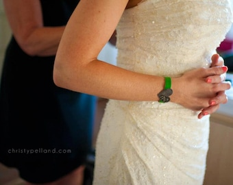 custom order wedding bracelet: your choice of leather color/size and shape/design on sterling silver