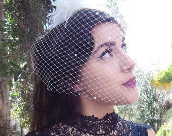 Crystal Veil, Birdcage Veil, Wedding Veil, Bling Veil, Rhinestone Veil, Birdcage Veil, Classic Bridal Veil, White, Ivory, Champagne
