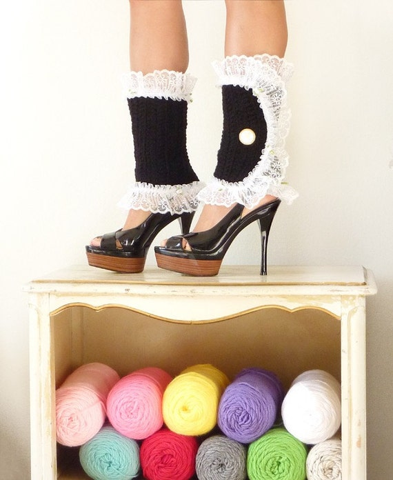 Fantasy Leg Warmers in Black - Victorian Fashion Spats