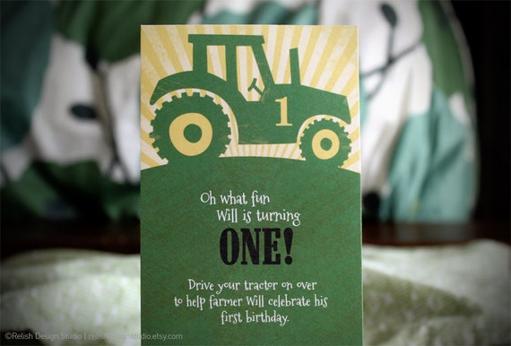 Big Green Tractor Printed Birthday Party Invitations - John Deere Inspired Party, printed cards with envelopes