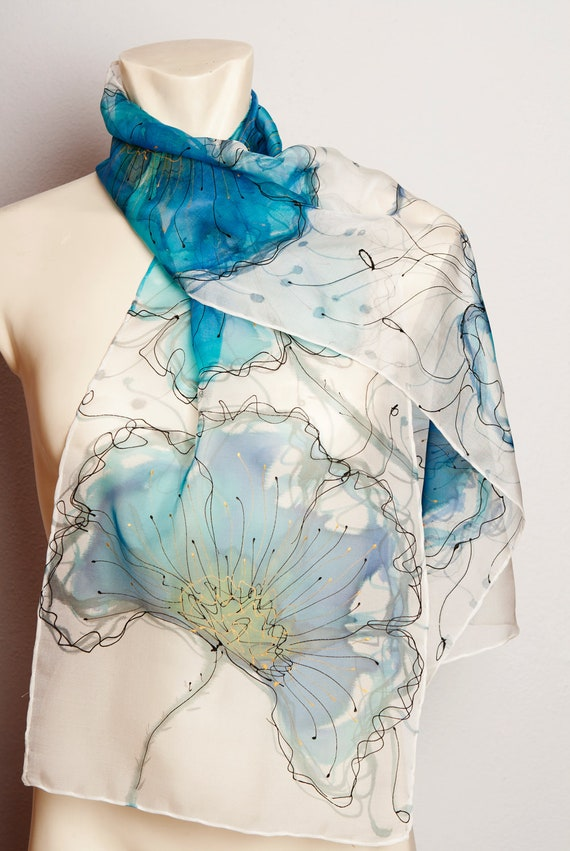 unique painted real silk chiffon scarf with by