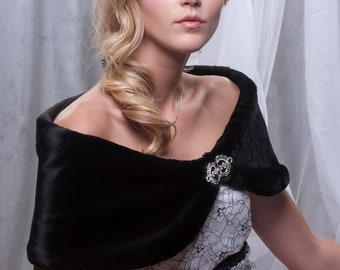 "Custom 8"" wide Faux Fur Wrap shawl Winter wedding formal shrug Available in diamond white, black or cream"
