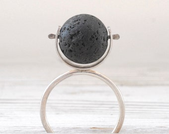 Black Lava Ring, Sterling Silver Lava Stone Geometric Ball Ring, Eccentric Black Stone Ring, Statement Ring, Lava Jewelry, Artistic Jewelry