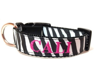 Personalized - Zebra  Dog Collar - made to order
