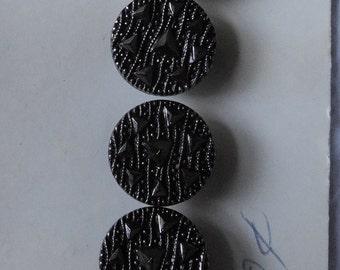 Set of 5 Black Glass Schwanda Buttons w/ Silver Luster Original Card