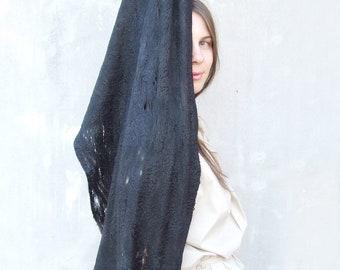 Black cobweb shawl scarf all seasons felting wool luxury cape gothic wedding bridesmaid idea for her fashion cij