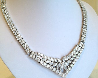 Vintage White Stone Estate Necklace Formal Necklace Bridal Marquise Necklace Parure Multi Stone  Necklace