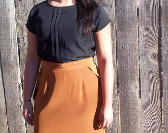 Vintage Rust Colored Skirt with Beautiful Ruffle detail. Women's size 10. -REDUCED PRICE-