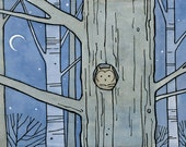 Owl in tree illustration - 5x7 matted print