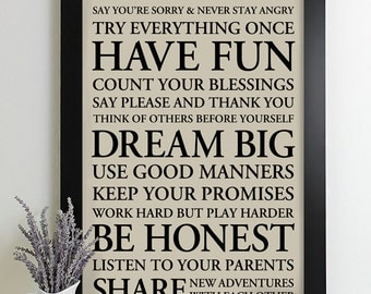 Signs with Family Rules Sign, Subway Art Print, House Rules Sign, Family Rule Signs, Playroom Rules, Typography Poster