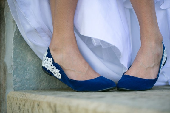 Wedding Shoes - Blue Bridal Ballet Flats/Wedding Shoes with Ivory Lace. US Size 6.5