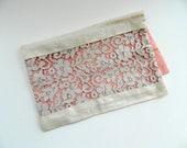 Handmade antique lace and linen envelope pouch lingerie lined peach pink taffeta romantic clutch cosmetic makeup bag vintage c 1930