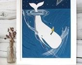 Whale nursery art. Whaler Rider print