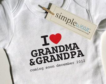 i heart grandma & grandpa (coming soon...) baby bodysuit pregnancy announcement