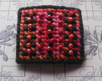 Black Multicolored Barrette Beaded Clip, Needlework Needlepoint Hair Accessories Boho Barrettes Clips Handmade Gifts