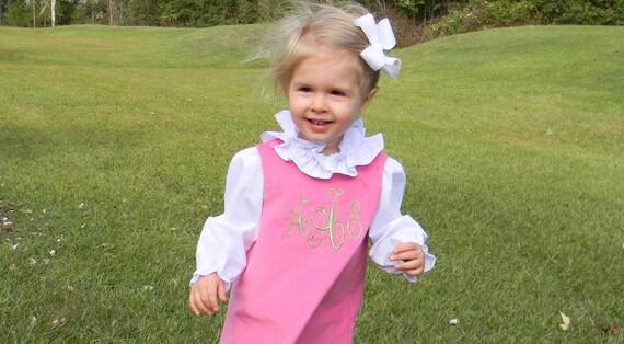 Monogrammed Pink Corduroy Jumper Dress