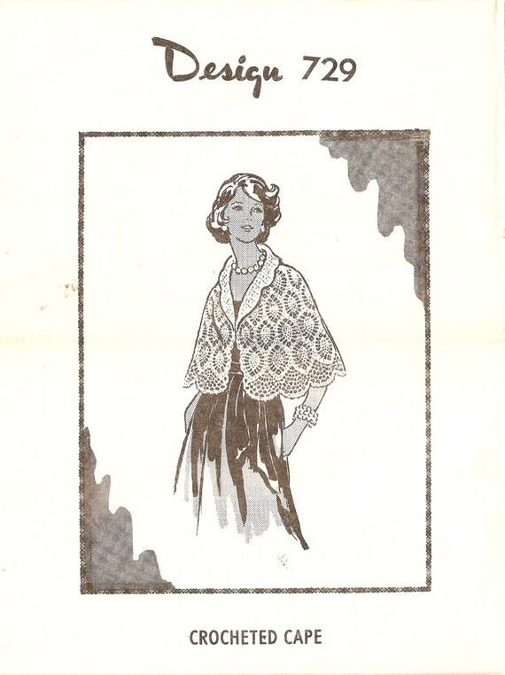 Vintage Crochet Pattern Crocheted Cape Pattern Design 729 Mail Order w/ Envelope size 36 38 40 42 44 46 Capelet