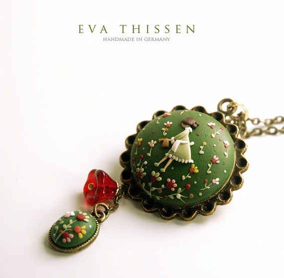 The Gardener. Beautiful hand made polymer clay pendant for the green thumbs. Made to order