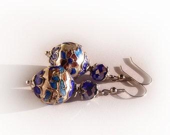 Cloisonne drop earrings, blue silver cloisonne earrings, antique earrings, stained glass look oriental bead earrings