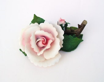 Vintage Porcelain Rose, Flower Sculpture, Pink Rose Wedding Table Decor, Indoor Garden
