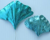 Blue Metallic Paper Millinery Flower Foil Craft Supply GINKGO Leaves DIY Spring Wreath LG.