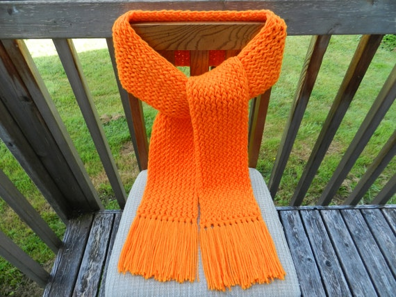 Knitting Loom Scarf Fringe : Orange Knit Scarf Loom Knitted Scarf Unisex by yarnworksandmore