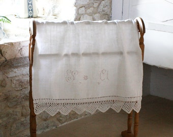 French Vintage Monogrammed Linen with Lace Edging