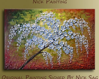 "Oil impressionist Landscape on canvas Thick textured palette knife Impasto Floral art -Blue Weeping Willow- By Nick Sag 36"" x 24"""