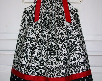 Pillowcase Dress Black Damask Dress Black White Red Girls Dresses Classic Dress for Wedding Classic Styles Special Occasion Holiday Dress