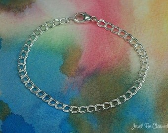 Sterling Silver Charm Bracelet Chain 6 1/2 Inch 4.2mm Double Links 925