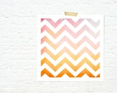 Geometric ombre chevrons print home decor nursery art autumn colours pink and orange - sunset chevrons - JaneRovers