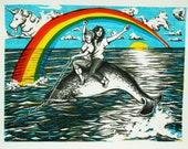 So Gay- Fine Art Narwal Print, Lithography and Screen Print, hand printed
