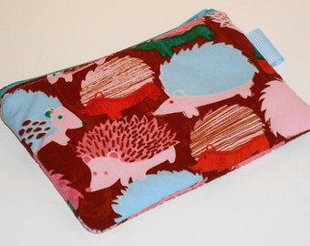 Psychedelic Hedgehogs Padded Zippered Pouch -- Card Holder/Coin Purse/Camera Bag