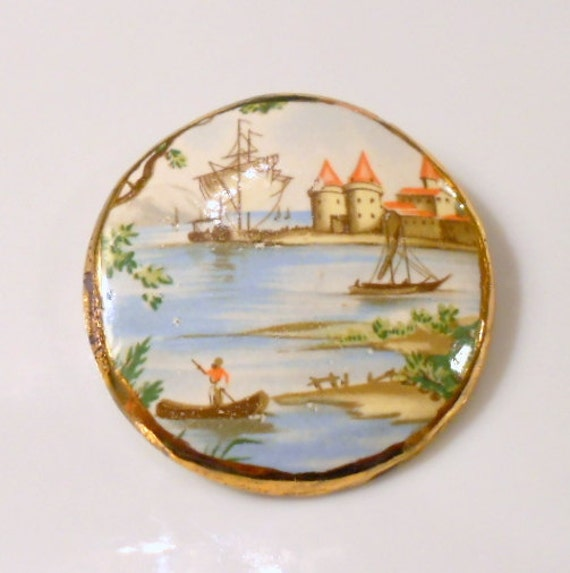Vintage Mediterranean Sea Brooch, Sailboat Gold Leaf Harbor Moorish Pin