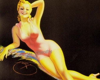 Pink Lady Blonde Bombshell Swimsuit Pinup Poster Print Vintage American Depression 1930s Billy DeVorss Classic Cheesecake Man-Cave Art