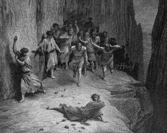 Dante Vision Stoning Of Stephen Purgatorio Canto 15 Engraving Gustave Dore Vintage Victorian Engraving